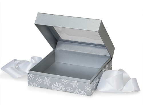 """Gourmet and Gift Presentation Boxes are rigid 1 piece auto-hinged boxes with a clear window in the lid. The boxes have coordinating colors both inside and out. As a finishing touch, they are topped off with beautiful 7/8"""" Satin Ribbon. Presentation grade packaging."""